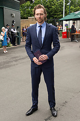© Licensed to London News Pictures. 14/07/2019. London, UK. Tom Hiddleston arrives to watch the mens singles finals on centre court tennis on Day 13 of the Wimbledon Tennis Championships 2019 held at the All England Lawn Tennis and Croquet Club. Photo credit: Ray Tang/LNP