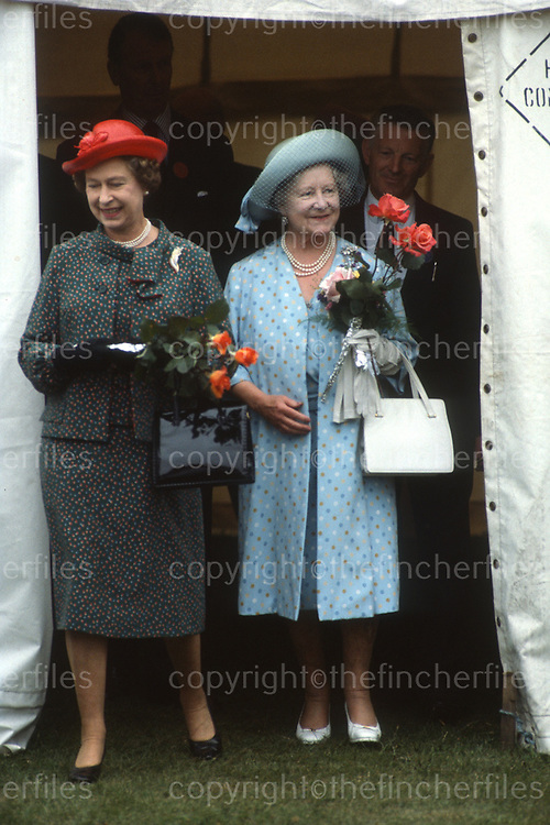 Her Majesty Queen Elizabeth seen with her mother The Queen Mother as they attend the annual Sandringham Flower Show at Sandringham, Norfolk,UK in 1984.Photograph by Jayne Fincher
