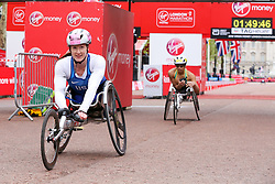 © Licensed to London News Pictures. 28/04/2019. London, UK. American's Tatyana McFadden finished second followed by Australian's Madison De Rozario who finished third at the women's wheelchair race at the London Marathon 2019. Photo credit: Dinendra Haria/LNP