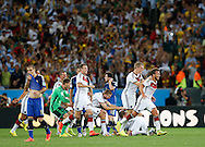 Germany's Mario Götze (right) leads the celebrations as they win the 2014 FIFA World Cup Final at Maracana Stadium, Rio de Janeiro<br /> Picture by Andrew Tobin/Focus Images Ltd +44 7710 761829<br /> 13/07/2014