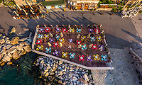 Aerial view of wooden deck at Porto Venere, Italy