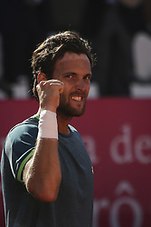 May 4, 2018 - Lisbon, Portugal - Joao Sousa celebrates the victory during the Millennium Estoril Open tennis tournament in Estoril, outskirts of Lisbon, Portugal on May 4, 2018  (Credit Image: © Carlos Costa/NurPhoto via ZUMA Press)