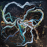high contrast painting in yellow, white, orange, brownish, pink, green, red, blue and light blue bending lines on black spotted enamel rough texture background, with nuances and shades.