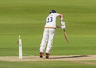 Mark Stoneman (Durham County Cricket Club) is bowled for 7 by Fidel Edwards (Hampshire CCC) during the LV County Championship Div 1 match between Durham County Cricket Club and Hampshire County Cricket Club at the Emirates Durham ICG Ground, Chester-le-Street, United Kingdom on 1 September 2015. Photo by George Ledger.