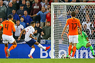 England midfielder Jesse Lingard (Manchester United) puts the ball in the net although the goal was ruled offside by VAR during the UEFA Nations League semi-final match between Netherlands and England at Estadio D. Afonso Henriques, Guimaraes, Portugal on 6 June 2019.