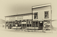 Faded black and white postcard of Matthew Watson General Store