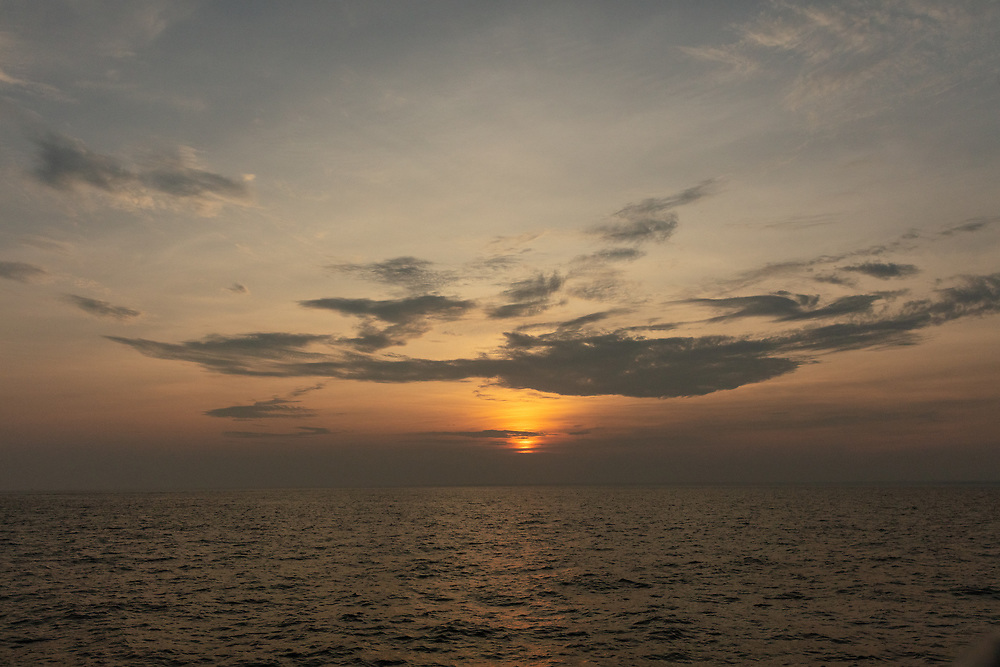 The setting sun in Nantucket Sound.
