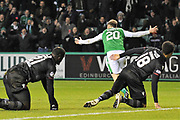 Brandon Barker scores goal during the Ladbrokes Scottish Premiership match between Hibernian and Motherwell at Easter Road, Edinburgh, Scotland on 31 January 2018. Picture by Kevin Murray.