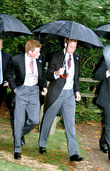PRINCE WILLIAM & PRINCE HARRY at the wedding of Tom Parker Bowles to Sara Buys at St.Nicholas Church, Rotherfield Greys, Oxfordshire on 10th September 2005.<br /><br />NON EXCLUSIVE - WORLD RIGHTS