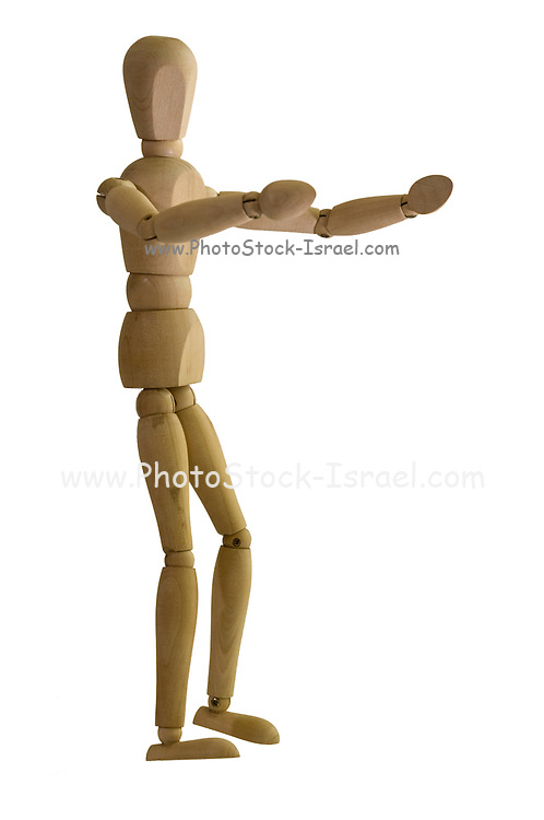 Posed artist manikin on white background ready for a hug