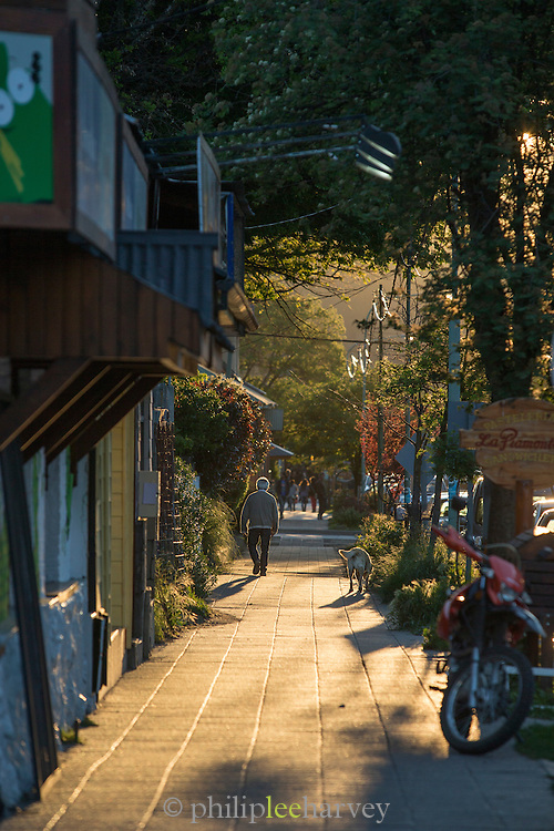 Man walking down street with dog at sunset, San Martin De Los Andes, Neuqu?n Region, Argentina, South America