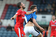 Brad Inman has his shirt pulled during the EFL Sky Bet League 1 match between Rochdale and Gillingham at Spotland, Rochdale, England on 23 September 2017. Photo by Daniel Youngs.