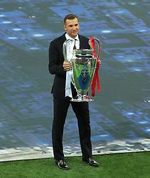 Andriy Shevchenko holding the champions league trophy ahead of the UEFA Champions League Final at the NSK Olimpiyskiy Stadium, Kiev.