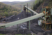 Conveyor and piles of coal at a mine near the town of Appalachia, Virginia near the Kentucky border.