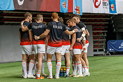 March 10, 2018 - Vancouver, British Columbia, U.S. - VANCOUVER, BC - MARCH 10: Canada team after warm up before their Game # 7- Australia vs Canada Pool A match at the Canada Sevens held March 10-11, 2018 in BC Place Stadium in Vancouver, BC. (Photo by Allan Hamilton/Icon Sportswire) (Credit Image: © Allan Hamilton/Icon SMI via ZUMA Press)