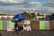 France. Paris.1st district. Love locks on the pont des Arts on the Seine river / la passerelle des arts sur la Seine, cadenas d amour.