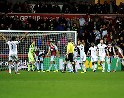 Swansea players appeal for hand ball in the dieting minutes of the game - Photo mandatory by-line: Joe Meredith/JMP - Tel: Mobile: 07966 386802 27/10/2013 - SPORT - FOOTBALL - Liberty Stadium - Swansea - Swansea City v West Ham United - Barclays Premier League