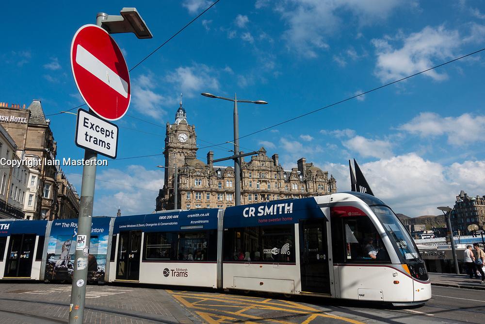 Tram on Princes Street in Edinburgh, Scotland, UK