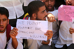 September 7, 2017 - Anantnag, Jammu and Kashmir, India - College Students shout slogans as they protest against the persecution of Myanmar's Rohingya Muslim minority in Anantnag, Indian controlled Kashmir. (Credit Image: © Muneeb Ul Islam/Pacific Press via ZUMA Wire)