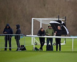 DERBY, ENGLAND - Friday, March 8, 2019: Journalists during the FA Premier League 2 Division 1 match between Derby County FC Under-23's and Liverpool FC Under-23's at the Derby County FC Training Centre. Dominic King, Neil Jones, Ian Doyle, Carl Markham. (Pic by David Rawcliffe/Propaganda)