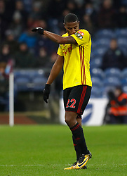Watford's Marvin Zeegelaar reacts after being shown a red card during the Premier League match at Turf Moor, Burnley.