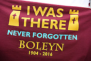 T-shirt on display saying 'I was there never forgotten Boleyn' outside Boleyn Ground before k.o. scenes around the Boleyn Ground, Upton Park in East London as West Ham United play their last ever game at the famous ground before their move to the Olympic Stadium next season. Barclays Premier league match, West Ham Utd v Man Utd at the Boleyn Ground in London on Tuesday 10th May 2016.<br /> pic by John Patrick Fletcher, Andrew Orchard sports photography.