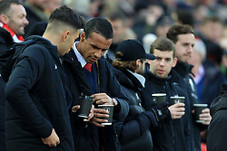 10th December 2017 - Premier League - Liverpool v Everton - Liverpool players, including Joel Matip (2L), hold cups of tea and coffee before the match - Photo: Simon Stacpoole / Offside.