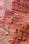 A train hauling uranium tailings as part of the UMTRA project leaves Moab, Utah.
