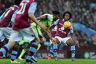 Carlos Sanchez ® of Aston Villa in action. Barclays Premier league match, Aston Villa v Manchester city at Villa Park in Birmingham, Midlands  on Sunday 8th November 2015.<br /> pic by  Andrew Orchard, Andrew Orchard sports photography.