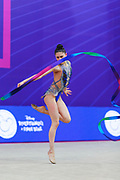Milena Baldassarri during final of ribbon at World Cup Pesaro 2018.<br /> Milena from Italy is a really young but talented gymnast. She was born in Ravenna on October 16, 2001.