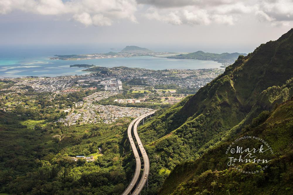 The H-3 Freeway & Haiku Valley, Oahu, Hawaii