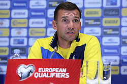 October 8, 2017 - Kiev, Ukraine - Ukraine's coach Andriy Shevchenko speaks at a press conference before the World Cup Group I qualifying soccer match between Ukraine and Croatia at the Olympic Stadium in Kiev. Ukraine, Sunday, October 8, 2017  (Credit Image: © Danil Shamkin/NurPhoto via ZUMA Press)