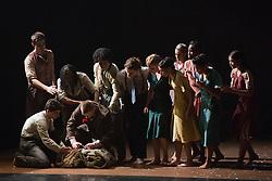 "© Licensed to London News Pictures. 22/10/2013. London, England. Dance company Rambert perform the London premiere of ""The Castaways"", a new piece by Barak Marshall, at Sadler's Wells Theatre, 22-26 October 2013. Dancers: Miguel Altunaga, Kirill Burlov, Mbulelo Ndabeni, Adam Park,  Jon Savage, Stephen Wright, Kym Alexander, Antonette Dayrit, Julia Gillespie, Vanessa King, Estela Merlos and Hannah Rudd. Photo credit: Bettina Strenske/LNP"