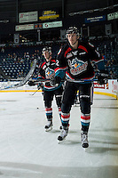 KELOWNA, CANADA - NOVEMBER 12: Konrad Belcourt #5 and Braydyn Chizen #22 of the Kelowna Rockets skate during warm up against the Prince Albert Raiders on November 12, 2016 at Prospera Place in Kelowna, British Columbia, Canada.  (Photo by Marissa Baecker/Shoot the Breeze)  *** Local Caption *** Konrad Belcourt; Braydyn Chizen;