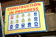 Construction in Progress health and safety notice sign