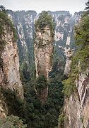 Majestic landscape with mountains with steep cliffs, Zhangjiajie National Forest Park, Hunan Province, China