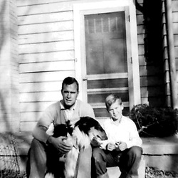 HS603  George H. and George W. Bush on the steps of their home in Midland, TX, circa 1954.<br /> Photo Credit:  George Bush Presidential Library