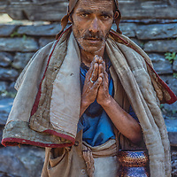 A Hindu pilgrim en route to Muktinath Temple, north of Annapurna in Nepal.