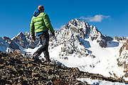 Sterling Roop walks out towards Mount Sneffels, San Juan Mountains, Colorado.