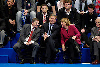 09 APR 2005 OBERHAUSEN/GERMANY:<br /> Peter Mueller (L), CDU, Ministerpraesident Saarland, Christian Wulff (M), CDU, Ministerpraesident Niedersachsen, und Angela Merkel (R), CDU Bundesvorsitzende, im Gespraech, Wahlkampfauftaktveranstaltung zur Landtagswahl in Nordrhein-Westfalen, Koenig-Pilsener-Arena<br /> IMAGE: 20050409-01-109<br /> KEYWORDS: Peter Müller