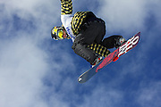 SHOT 1/25/08 12:46:49 PM - Norwegian snowboarder Andreas Wiig from Oslo gets airborne over a gap jump during a practice session for the Snowboard Slopestyle qualifying Friday January 25, 2008 at Winter X Games Twelve in Aspen, Co. at Buttermilk Mountain. Wiig qualified for the event and went on to win with a score of 92.00, beating out U.S. riders Kevin Pearce (88.33) and Shaun White (83.33). It was the second year in a row Wiig has won gold in the event. The 12th annual winter action sports competition features athletes from across the globe competing for medals and prize money is skiing, snowboarding and snowmobile. Numerous events were broadcast live and seen in more than 120 countries. The event will remain in Aspen, Co. through 2010..(Photo by Marc Piscotty / WpN © 2008)