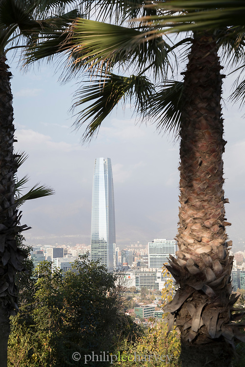 Cityscape with skyscraper and palm tree on San Cristobal Hill, Santiago, Chile
