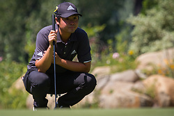 August 5, 2018 - Reno, Nevada, U.S - Sunday, August 5, 2018.JOHN ODA lines up a putt during the 2018 Barracuda Championship at the Montreux Golf & Country Club in Reno, Nevada...The Barracuda Championship Golf Tournament is one of only 47 stops on the PGA Tour worldwide, and has donated nearly $4 million to charity since 1999. Opened in 1997, the par-72 course was designed by Jack Nicklaus, plays at 7,472 yards (6,832 m) and its average elevation is 5,600 feet (1,710 m) above sea level...The Montrux Golf and Country Club is located midway between Reno and Lake Tahoe...The tournament champion, Andrew Putnam, received a check in the amount of $612,000. (Credit Image: © Tracy Barbutes via ZUMA Wire)