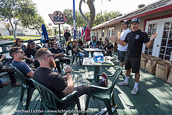 Mike Davis and Grant Peterson address the riders meeting before Born Free and Harley-Davidson Stampede at Costa Mesa Speedway. Costa Mesa, CA. USA. Thursday June 22, 2017. Photography ©2017 Michael Lichter.