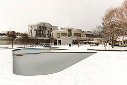 The Beast from the East, Storm Emma hit Edinburgh overnight and has left transport links decimated and many of the shops on the famous Princes Street closed for the day.<br /> <br /> Pictured: The Scottish Parliament in the snow