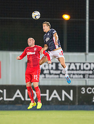 Falkirk's Will Vaulks over Boyd. Falkirk 1 v 3 Rangers, Scottish League Cup game played 23/9/2014 at The Falkirk Stadium.