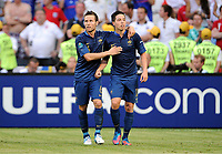 Fotball , 11. juni 2012 , Euro , England - Frankrike<br /> 1:1 Jubel v.l. Yohan Cabaye, Torschuetze Samir Nasri <br /> Norway only