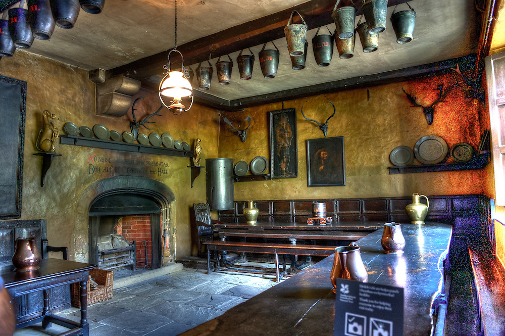 The servants hall at the Chirk Castle