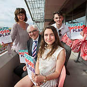 31.05.2018.          <br /> Limerick and Clare Education Training Board launch Youth Work Plan 2018-2021 at Thomond Park Limerick with Pat Breen TD, Minister of State with special responsibility for Trade, Employment, Business, EU Digital Single Market and Data Protection, Clare. <br /> <br /> Pictured at the event were, Cora Foley, LCETB, George O'Callaghan, LCETB, Nicole Secas and Cillian Hickey. Picture: Alan Place