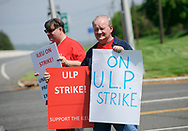 Independent Laboratory Employees Union members strike May 2, 2019, outside the Exxon Mobil Corp. research facility on Rte. 31 in Annandale, New Jersey. (Photo by Matt Smith)